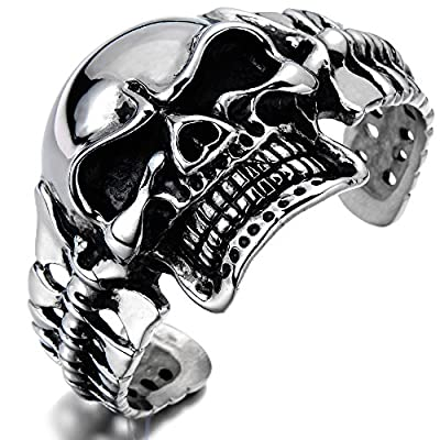 Heavy and Study Mens Stainless Steel Biker Skull Cuff Bangle Bracelet Silver Black Two-tone Polished