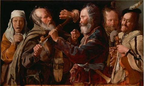 'The Musicians' Brawl, About 1625 - 1630 By Georges De La Tour' Oil Painting, 12x20 Inch / 30x51 Cm ,printed On Perfect Effect Canvas ,this Replica Art DecorativePrints On Canvas Is Perfectly Suitalbe For Wall Art Decoration And Home Decoration And Gifts