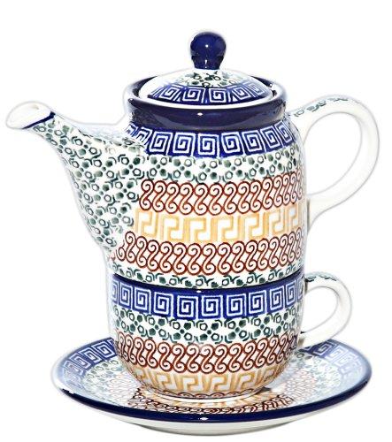 New Polish Pottery TEA FOR ONE SET Boleslawiec CA Pattern 50 Euro Stoneware