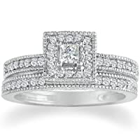 1/2ct Princess Diamond Bridal Set in 14k White Gold (GH I1) Ring sizes 5-9