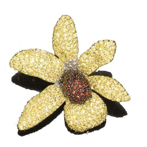 Ruby And Yellow Stardust (.925) S/S Brooch (Nice Holiday Gift, Special Black Firday Sale)