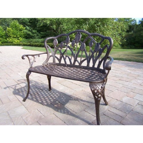 Oakland Living Tulip Cast Aluminum Loveseat Bench, Antique Bronze