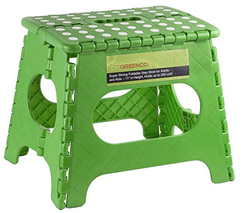 Greenco Super Strong Foldable Step Stool for Adults and Kids - 11 inches in Height, Holds up to 300 Lb, Green (Step Stool For Kids compare prices)
