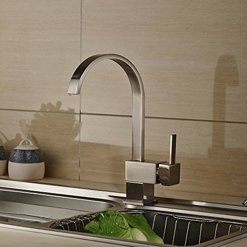rovate kitchen sink faucet brass 360 degree swivel single handle single hole mixe faucet chrome. Interior Design Ideas. Home Design Ideas