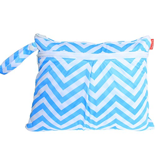 Damero New Cute Travel Baby Wet and Dry Cloth Diaper Organizer Bag, Blue Chevron