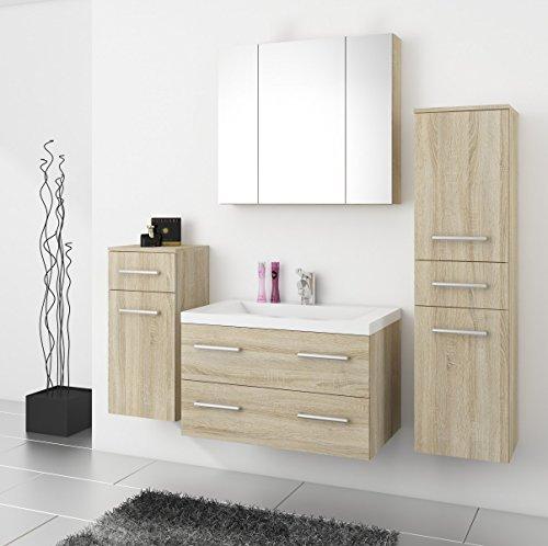 top badm bel badezimmer regina 5tlg set in sonoma eiche mit 80 cm waschtisch. Black Bedroom Furniture Sets. Home Design Ideas