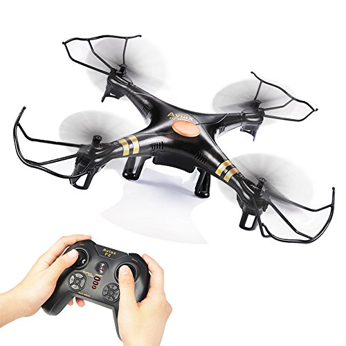 GPTOYS Black Aviax 2.4GHz 6-Axis GYRO RC Quadcopter Drone Headless Mode