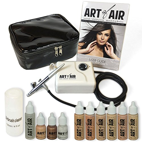 Art of Air Professional Airbrush Cosmetic Makeup System / Fair to Medium Shades 6pc Foundation Set with Blush, Bronzer, Shimmer and Primer Makeup Airbrush Kit (Airbrush Spray Makeup compare prices)