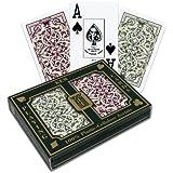 Kem Jacquard Playing Cards: 2-Deck Set Green/Burg (Bridge - Narrow)