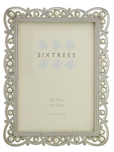 Antique Vintage and Shabby Chic Style silver metal photo frame with beads and crystals for a 7 x 5 (178 x 127mm) picture -Louisa by Sixtrees by Sixtrees