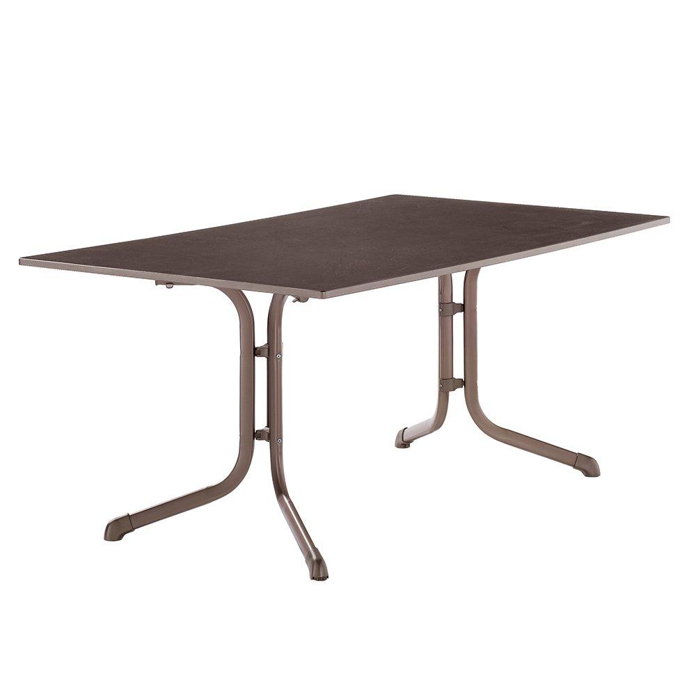 Sieger 1170-70 Boulevard-Tisch mit Puroplan-Platte 140 x 90 cm, Stahlrohrgestell marone, Tischplatte Schieferdekor mocca kaufen