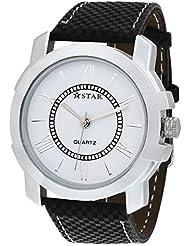T STAR White Dial Black Strap Round Analog Watch For Men - TSW-023-M-WT-BK