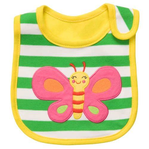 Carter's Baby Girls Butterfly Stripe Teething Bibs (OS, Yellow Green) - 1