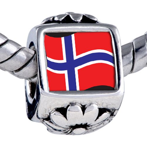 Pugster Bead Norway Flag Beads Fits Pandora Bracelet
