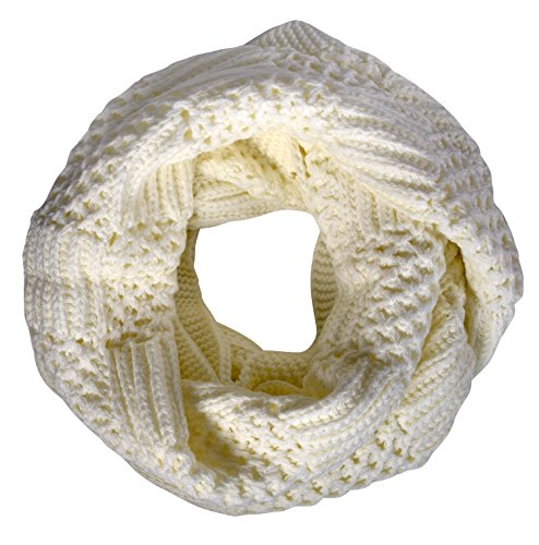 Peach Couture Intricately Knitted Lace Ribbon Infinity Loop Cowl Scarves Cream (Cowl Scarf compare prices)