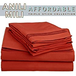 Anili Milis Triple Stitch Embroidery Affordable 4 PC Bed Sheet Set - Queen Size, Orange Rust
