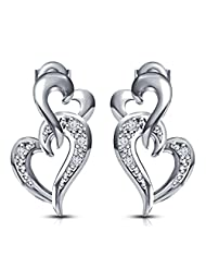 Dussehra - Diwali Festival Offer ! Platinum Plated 925 Sterling Silver Swarovski CZ Intertwined Hearts Stud Earrings...