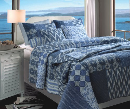 Greenland Home Fashions Santorini Bonus 3-Piece Quilt Set, Twin