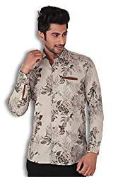 KIvon Men's Creame Printed Slim Fit Casual Shirt
