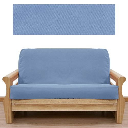 Solid Light Blue Futon Cover Full 5pc Pillow set 401 (Light Blue Futon compare prices)