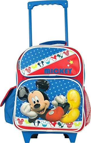 """Disney Mickey Mouse Toddler 12"""" Rolling Backpack. front-560698"""