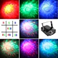 Vnina Party lights 7 color Water Wave LED Projector with remote control Romance and Relax Effect stage lighting Multicolor Led bulbs Or Single Color:Red Green and Blue Light ( black )