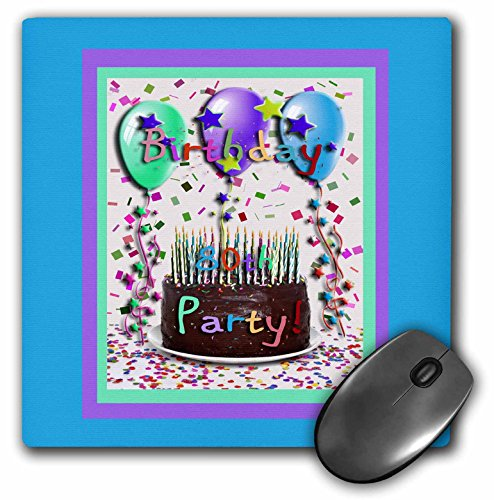 3dRose LLC 8 x 8 x 0.25 Inches Birthday Party Chocolate Cake 80th Mouse Pad (mp_20219_1)