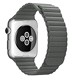 Apple Watch Band 38mm, BRG Leather Loop with Adjustable Magnetic Closure iWatch Band Replacement Bracelet Strap for Apple Watch Sport and Edition 38mm Medium - Storm Gray