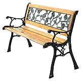 Giantex Patio Park Garden Bench Porch Chair Outdoor Deck Cast Iron Hardwood Rose