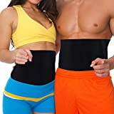 Strong Black Adjustable Fit Waist Trimmer Tummy Belt Trim Curve Contour Belly Burner Weight Loss Abdominal Tone Muscle Toning Slimming Neoprene Easy Fit Exercise for Women & Men Home Gym Ab Belt by MakExpress