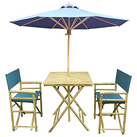 ZEW SET-014-0-12 Bamboo Square Table with 2 Director Chairs and 1 Umbrella
