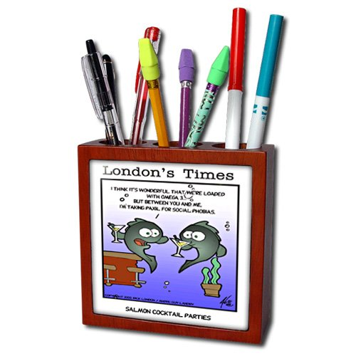 Ph_2433_1 Londons Times Fish Fishing Deep Beneath Cartoons - Salmon Coctail Parties With Omega 3 - Tile Pen Holders-5 Inch Tile Pen Holder