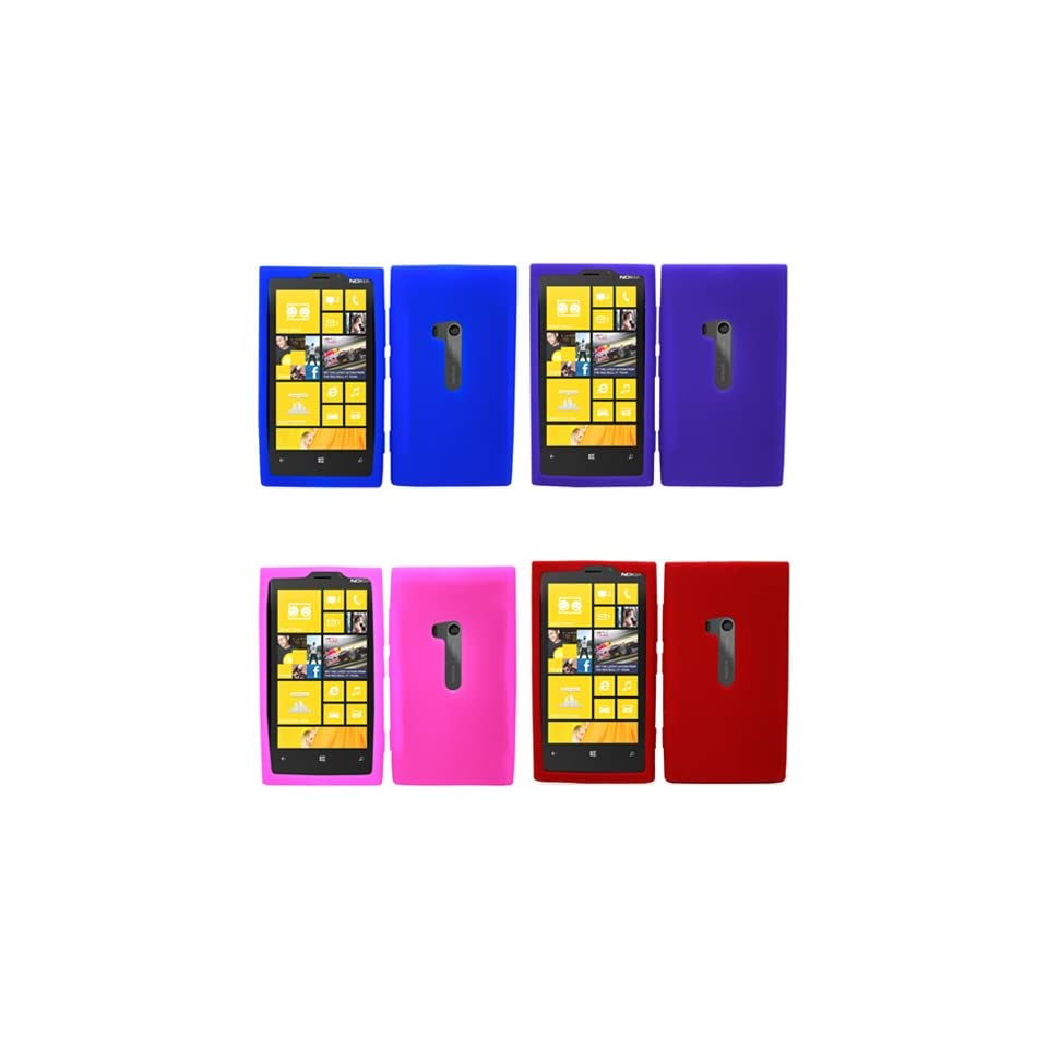 iFase Brand Nokia Lumia 920 Combo Solid Blue + Solid Red + Solid Purple + Solid Hot Pink Silicon Skin Case Faceplate Cover for Nokia Lumia 920