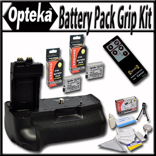 Opteka Battery Pack Grip / Vertical Shutter Release for Canon Rebel T2i, T3i, T4I, 700D, 650D, Kiss X5, Kiss X4, Kiss X6i, kISS X7i EOS 550D 600D Digital SLR Cameras with 2 Extra LP-E8 Extended Life High Capacity Batteries, Wireless Infrared Remote and Lens Cleaning Kit