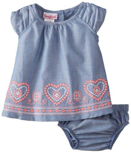 Nannette Baby-Girls Newborn 2 Piece Heart Dress Set, Blue, 6-9 Months