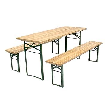 Set de Cervecería de madera, Juego de mesa y 2 bancos, 220 x 70 x 75 cm, plegable, 28 mm de espesor