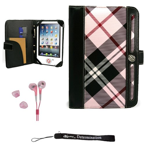 Christmas Pink Elegant Leather Plaid Melrose Case for 7' in Google Android Touchpad Tablet + Includes a Crystal Clear High Quality HD Noise Filter Ear Buds Deals