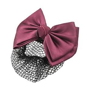SODIAL(R) Filet aux cheveux avec l'epingle de noeud a deux boucles Vin Rouge pour les femmes