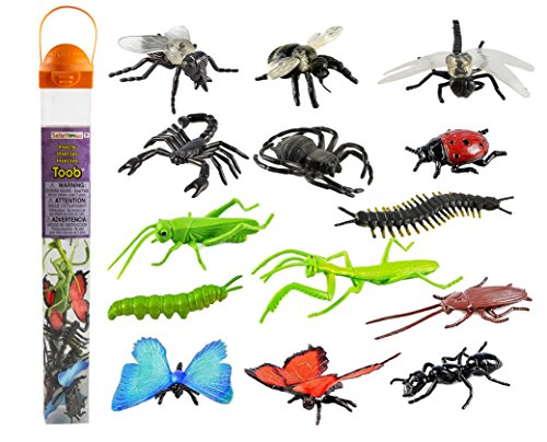 Safari Ltd Insects TOOB - Comes With 14 Toy Figurines - Including Caterpillar, Dragonfly, Centipede, Grasshopper, Ladybug, Spider, Butterflies, Bee, Scorpion, Praying Mantis, And More - Ages 3 And Up