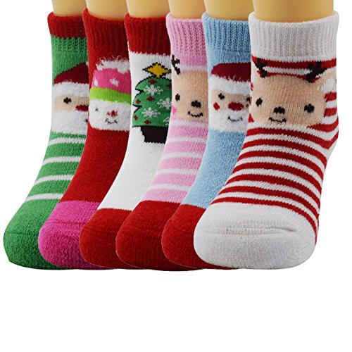 Zando Loom Cotton Cushioned Kids Children Warm Cute Colorful Soft Trendy Socks 6 Pairs-Christmas M(1-3 years old) (Thing 1 And 2 Accesories compare prices)