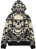 (TOKYO9) 秋冬 レディース メンズ ユニセックス トップス ファッション 原宿系 ユニセックス HIPHOP ダンス 派手 個性的 パーカー 骸骨 ドクロ フード MT-1586-E,XL