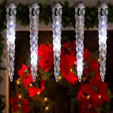Icicle Lights - 8 LED Shooting Star Clear White Dripping Lightshow - White Wire
