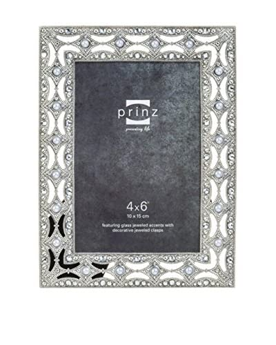 """Prinz All That Glitters Antique Silver Pearl and Jewel Frame, 4"""" x 6"""""""