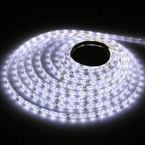 Triangle Bulbs® Cool White Double Density 600 Leds Flexible Led Strip Light, 3528 Type Smd, 16.4 Ft / 5 Meter, With Easy Installation No Wiring Required Dc Jack Input Just Plug And Play,