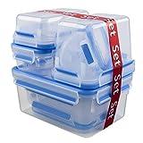 Emsa 516945 9-teiliges Frischhaltedosenset, Verschiedene Größen und Einsätze, Transparent/Blau, Clip & Close
