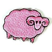 ミニアイロンワッペン  ひつじ 羊 ピンク アイロンで貼れるワッペン アイロンワッペン 刺繍 パッチワッペン