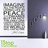 1Stop Graphics Shop - JOHN LENNON IMAGINE WALL STICKER QUOTE - FAMILY LOVE BEDROOM WALL ART DECAL X102 - Colour: Black - Size: Large