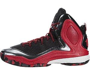 adidas Performance Men's D Rose 5 Boost Basketball Shoe, Black/Scarlet/White, 8 M US