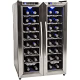 EdgeStar 32 Bottle Dual Zone Wine Cooler with Stainless Steel Trimmed French Doors and Digital Controls