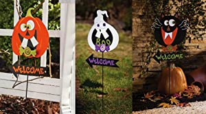Halloween Welcome Garden Stakes - Set of 3